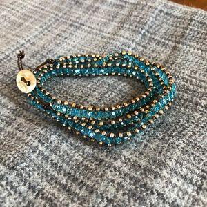 💎 Stunning blue Swarovski beaded wrap bracelet 💎